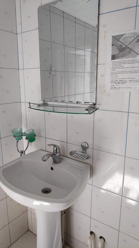 Rumiゲストハウスの洗面台
