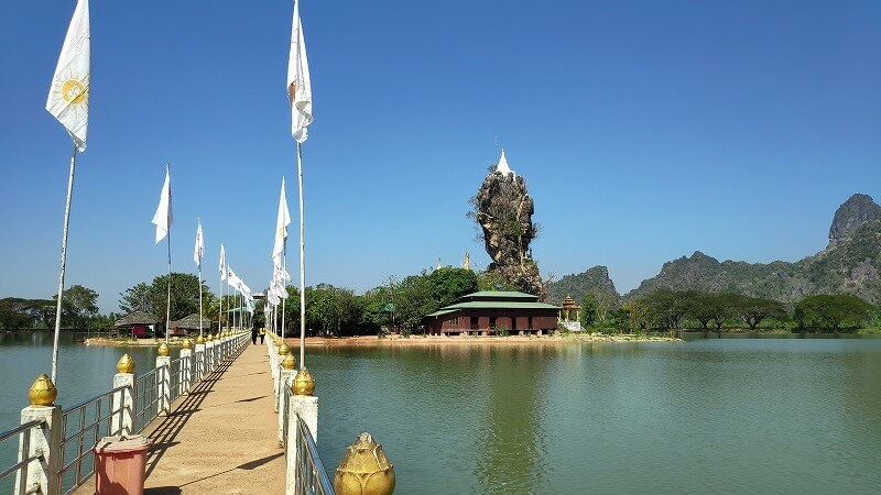 ミャンマー、パアンの島へ続く橋