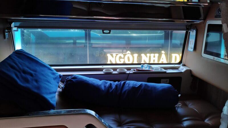 ベトナム、クアンガイからホーチミンシティへのバスのリクライニングシート
